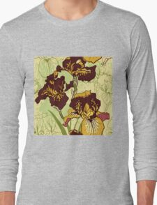 Seamless pattern with decorative  iris flower in retro colors.  Long Sleeve T-Shirt