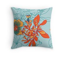 Seamless floral background with peonies Throw Pillow
