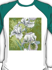 Seamless pattern with decorative  iris flower in retro colors.  T-Shirt