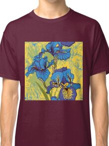 Seamless pattern with decorative  iris flower in retro colors.  Classic T-Shirt