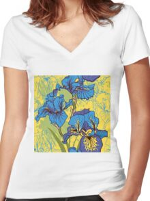 Seamless pattern with decorative  iris flower in retro colors.  Women's Fitted V-Neck T-Shirt