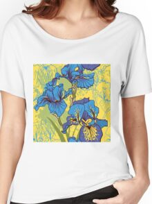 Seamless pattern with decorative  iris flower in retro colors.  Women's Relaxed Fit T-Shirt
