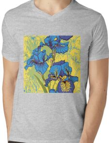 Seamless pattern with decorative  iris flower in retro colors.  Mens V-Neck T-Shirt
