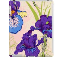 Seamless pattern with decorative  iris flower in retro colors.  iPad Case/Skin