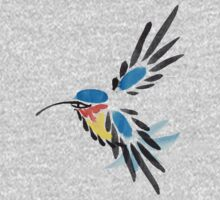 Watercolor blue hummingbird in flight.  One Piece - Long Sleeve