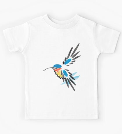 Watercolor blue hummingbird in flight.  Kids Tee