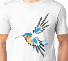 Watercolor blue hummingbird in flight.  Unisex T-Shirt