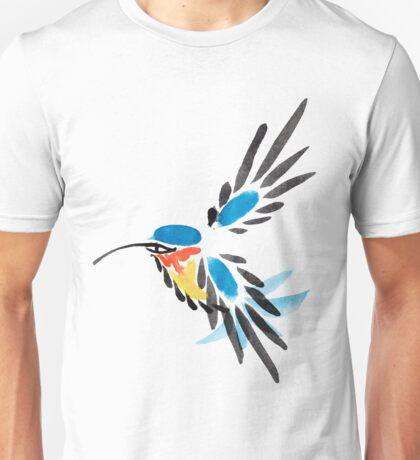Watercolor blue hummingbird in flight.  Unisex T-Shirt