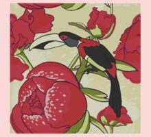 Seamless floral background with peonies bird toucan Baby Tee
