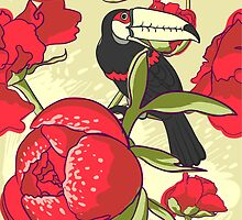 Seamless floral background with peonies bird toucan by OlgaBerlet