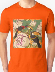 Seamless floral background with peonies bird toucan Unisex T-Shirt