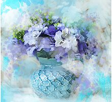 shabby chic french country blue watercolor flowers by lfang77