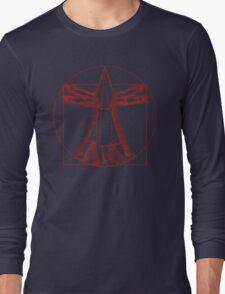 Vitruvian Pyramid Head (Red) Long Sleeve T-Shirt