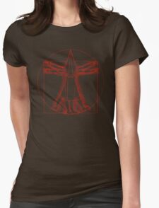 Vitruvian Pyramid Head (Red) Womens Fitted T-Shirt