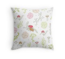 Elegance Seamless pattern with flowers, vector floral illustration in vintage style Throw Pillow