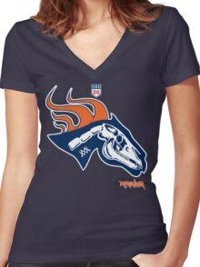 Denver Football's horse:  Pestilence Women's Fitted V-Neck T-Shirt
