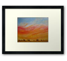 Prairie Sky - sunset with hay bales on the horizon Framed Print