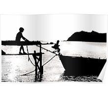 Boy pulling boat Lesvos, Greece Poster
