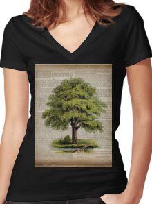 hippie hipster fashion botanical art vintage oak tree Women's Fitted V-Neck T-Shirt