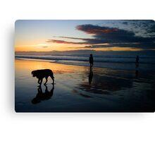 Sand, Sea & Silhouettes Canvas Print