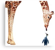 """Licker with Penguin"" Giraffe Watercolor Canvas Print"