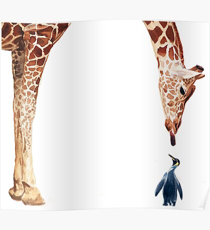 """Licker with Penguin"" Giraffe Watercolor Poster"