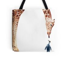 """Licker with Penguin"" Giraffe Watercolor Tote Bag"