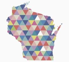 Wisconsin Colorful Hipster Geometric Triangles  One Piece - Short Sleeve