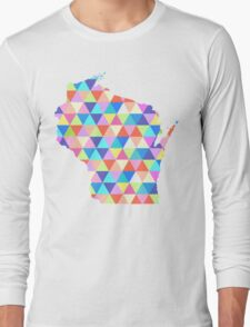 Wisconsin Colorful Hipster Geometric Triangles  Long Sleeve T-Shirt