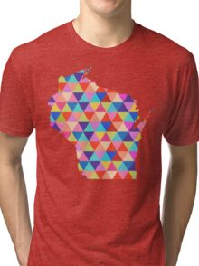 Wisconsin Colorful Hipster Geometric Triangles  Tri-blend T-Shirt