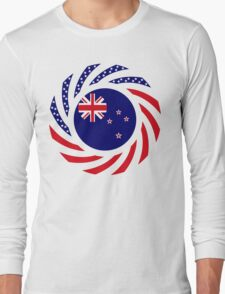 New Zealand American Multinational Patriot Flag Long Sleeve T-Shirt