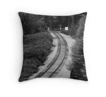 Tracks bw Throw Pillow