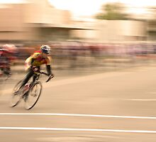 Cyclists Coming Around a Curve and into the Straightaway by Buckwhite