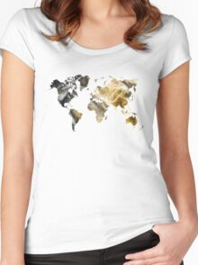 World Map Sandy world Women's Fitted Scoop T-Shirt