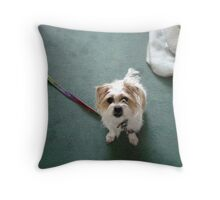 Hi Mama, can you take my lead off? Throw Pillow