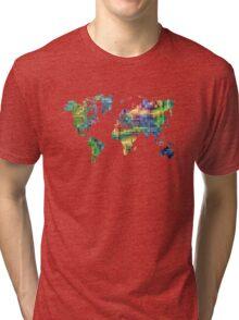 Map of the world geometric Tri-blend T-Shirt