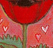 PASSION FOR POPPIES - A GORGEOUS SINGLE RED POPPY with little Hearts Sticker