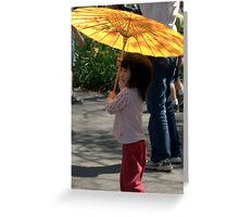 Gir wit umbrella Greeting Card