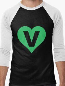 V for Vegetarian Men's Baseball ¾ T-Shirt