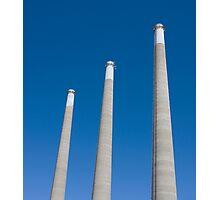 Energy - Three Smoke Stacks on a Blue Sky Photographic Print