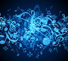 Blue Glow Music Notes by HavenDesign