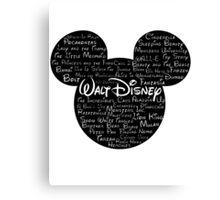 Walt Disney Typography Canvas Print