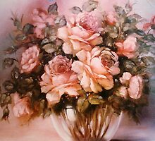 Peach Roses in a Glass Vase by Cathy Amendola