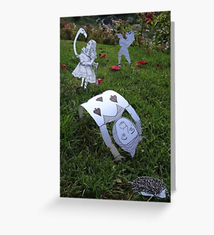 Alice and the Croquet Game Greeting Card