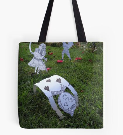 Alice and the Croquet Game Tote Bag