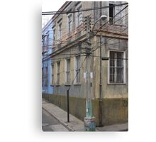 Power Lines and Buildings Canvas Print