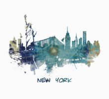 New York City skyline blue Baby Tee