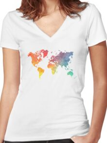 Map of the world colored Women's Fitted V-Neck T-Shirt