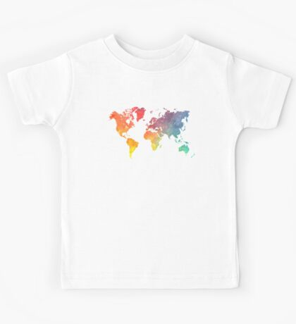 Map of the world colored Kids Tee