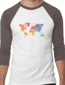 Map of the world colored Men's Baseball ¾ T-Shirt